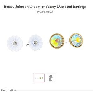 Betsey Johnson stud earrings flower and cz